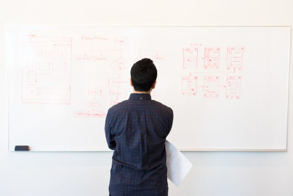 A man looking at a whiteboard