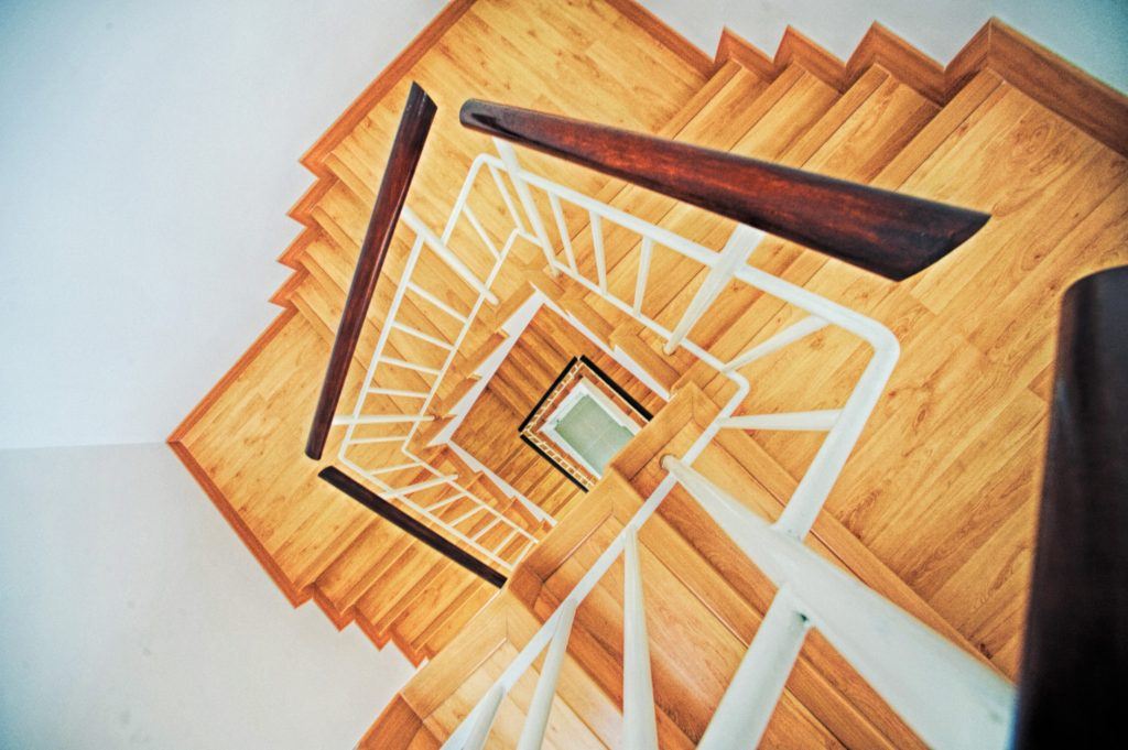 a stairwell going around and around  winning business continuously